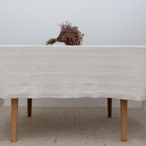 Hemp Tablecloth with Traditional Lace Embroidery