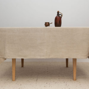 Natural linen and hemp oblong tablecloth
